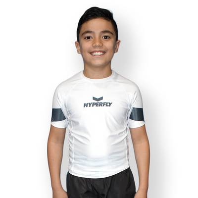 Kids     Hyperfly YCTH. White Rash Guard Short Sleeve [Size: 14]
